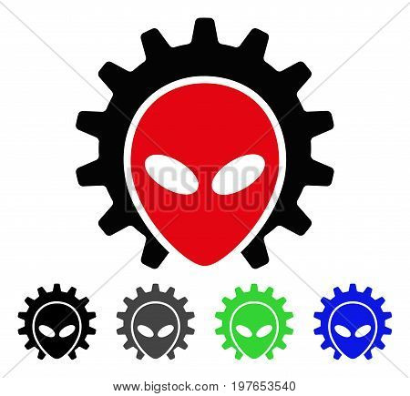 Alien Technology flat vector icon. Colored alien technology gray, black, blue, green pictogram variants. Flat icon style for web design.