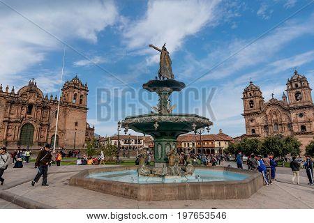 Cusco, Peru- March 17, 2017:Plaza de Armas Cusco Peru