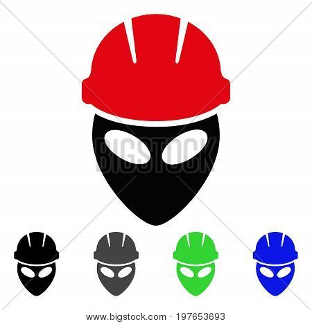 Alien Worker flat vector icon. Colored alien worker gray, black, blue, green icon versions. Flat icon style for application design.