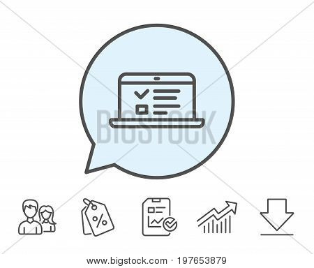 Online Education line icon. Notebook or Laptop sign. Web Presentation or Internet Lectures symbol. Report, Sale Coupons and Chart line signs. Download, Group icons. Editable stroke. Vector