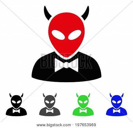 Devil flat vector pictogram. Colored devil gray, black, blue, green icon versions. Flat icon style for application design.