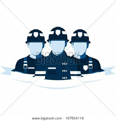 Emblem of fire brigade. Group of people in fireman helmets and uniforms. Firefighters team isolated on white. Flat firemen characters. Vector illustration