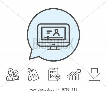 Online Video Education line icon. Computer with Online lecture sign. Web player symbol. Report, Sale Coupons and Chart line signs. Download, Group icons. Editable stroke. Vector