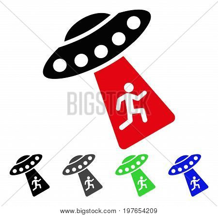 Human Abduction UFO flat vector pictogram. Colored human abduction ufo gray, black, blue, green pictogram variants. Flat icon style for web design.