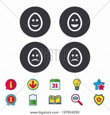 Eggs happy and sad faces icons. Crying smiley with tear symbols. Tradition Easter Pasch signs. Calendar, Information and Download signs. Stars, Award and Book icons. Light bulb, Shield and Search