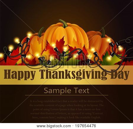 Happy Thanksgiving day background, The vector illustration of pumpkins isolated on white, maple leafs. It is autumn. It is Thanksgiving day with place for your text text