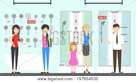 Plumber store illustration. People visit the shop to buy shower cubicle.