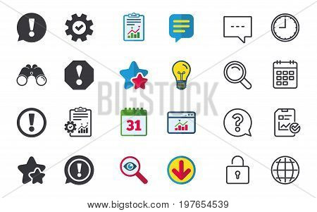 Attention icons. Exclamation speech bubble symbols. Caution signs. Chat, Report and Calendar signs. Stars, Statistics and Download icons. Question, Clock and Globe. Vector
