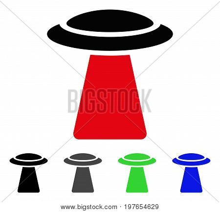 UFO Ray flat vector icon. Colored ufo ray gray, black, blue, green pictogram versions. Flat icon style for graphic design.