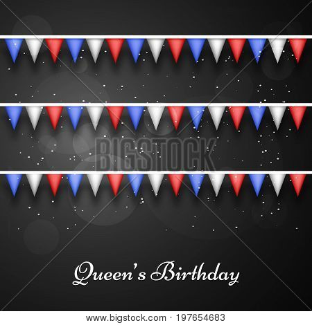 illustration of decoration with Queen's Birthday text on the occasion of Queen's Birthday