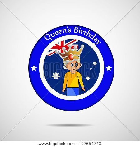 illustration of stamp in Australia flag background with Queen's Birthday text on the occasion of Queen's Birthday