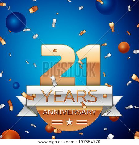 Realistic Twenty one Years Anniversary Celebration Design. Golden numbers and silver ribbon, confetti on blue background. Colorful Vector template elements for your birthday party. Anniversary ribbon