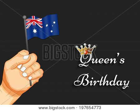 illustration of Hand holding Australia flag background with Queen's Birthday text on the occasion of Queen's Birthday
