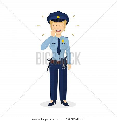 Isolated laughing policewoman on white background. Woman in uniform.