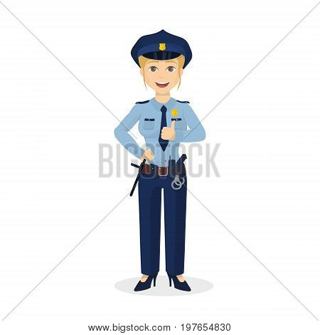 Isolated thumb up policewoman on white background. Happy positive woman.