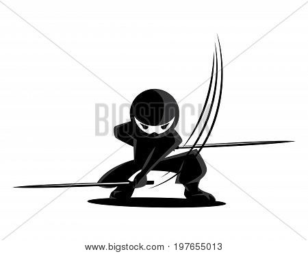 Ninja Samurai Warrior Fighter Character Cartoon Martial Art Weapon Swords
