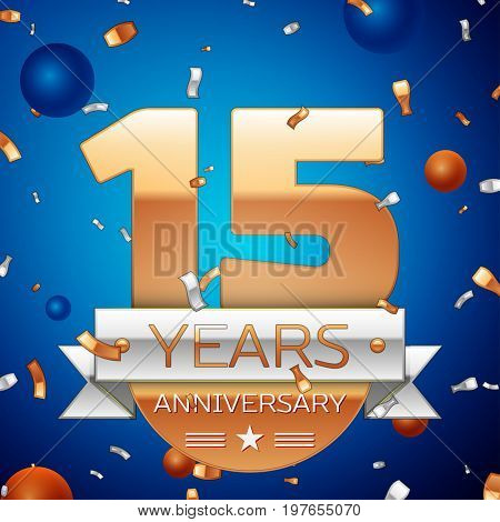 Realistic Fifteen Years Anniversary Celebration Design. Golden numbers and silver ribbon, confetti on blue background. Colorful Vector template elements for your birthday party. Anniversary ribbon