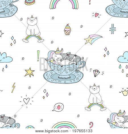 Cute hand drawn unicorn vector pattern. vector illustration.
