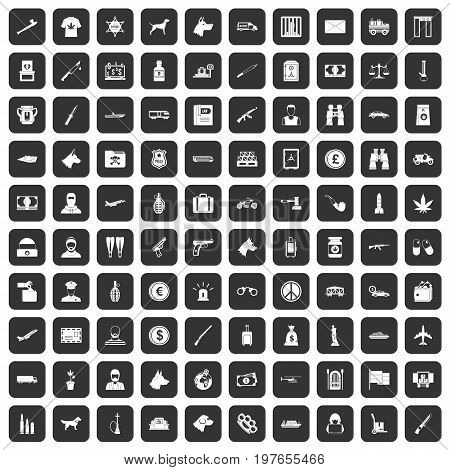100 smuggling  icons set in black color isolated vector illustration