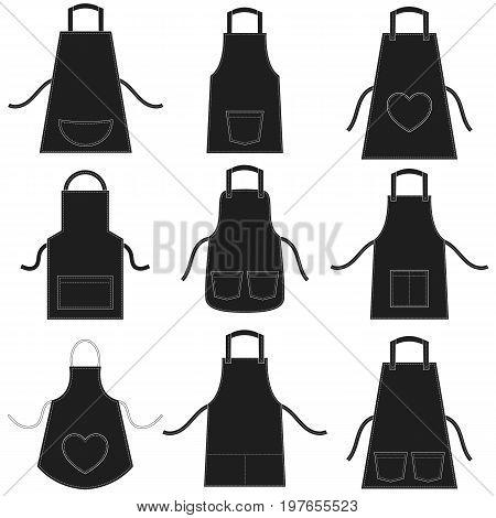 black apron set isolated on white background