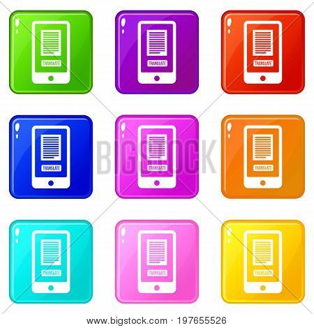 Translate application on a smartphone icons of 9 color set isolated vector illustration