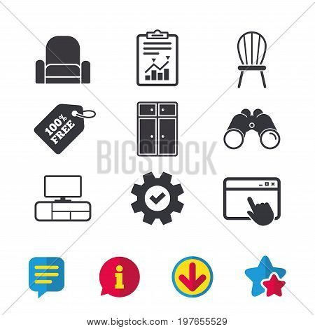 Furniture icons. Cupboard, chair and TV table signs. Modern armchair symbol. Browser window, Report and Service signs. Binoculars, Information and Download icons. Stars and Chat. Vector poster