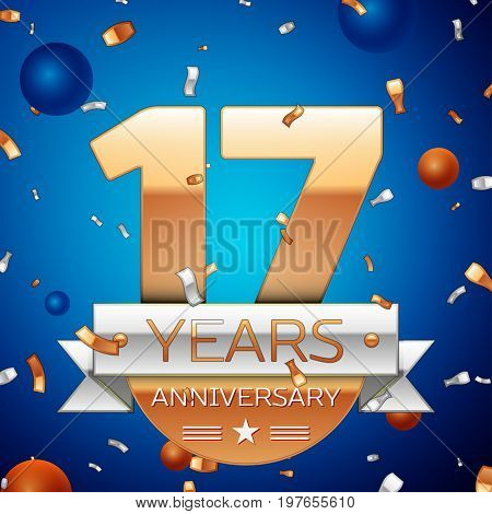 Realistic Seventeen Years Anniversary Celebration Design. Golden numbers and silver ribbon, confetti on blue background. Colorful Vector template elements for your birthday party. Anniversary ribbon