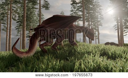 3d rendering of the red dragon posing on hill with pine trees