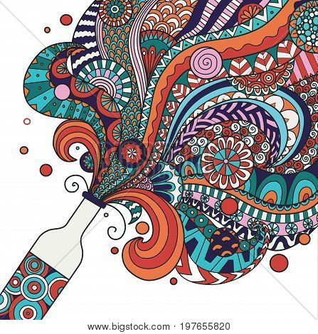 Colorful champagne bottle line art design for posterbannerillustration. Stock vector