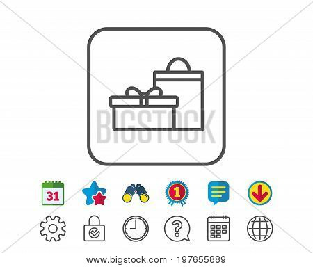 Gift box with bag line icon. Present or Sale sign. Birthday Shopping symbol. Package in Gift Wrap. Calendar, Globe and Chat line signs. Binoculars, Award and Download icons. Editable stroke. Vector