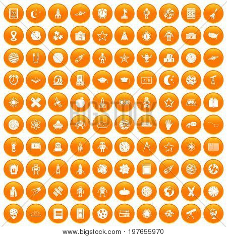 100 astronomy icons set in orange circle isolated vector illustration