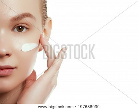 Woman Beauty Face Portrait With Healthy Skin. Beauty Woman Face Portrait. Beautiful Spa Model Girl W