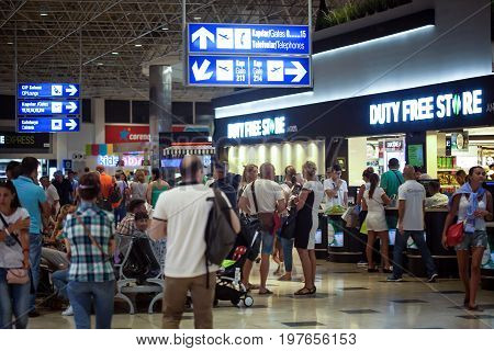 ANTALYA, TURKEY - JULY 17, 2017: Duty Free Shop in International airport