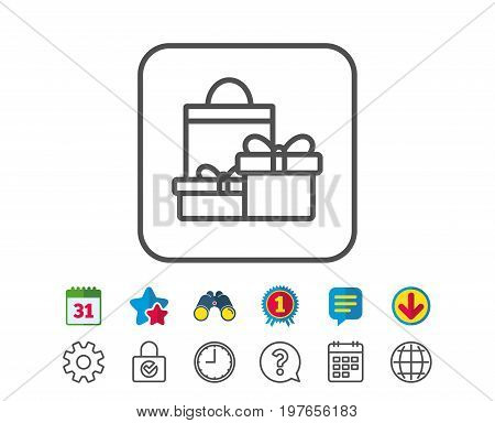 Gift boxes with bag line icon. Present or Sale sign. Birthday Shopping symbol. Package in Gift Wrap. Calendar, Globe and Chat line signs. Binoculars, Award and Download icons. Editable stroke. Vector
