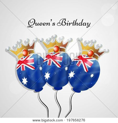 illustration of balloons in Australia flag background and crown with Queen's Birthday text on the occasion of Queen's Birthday
