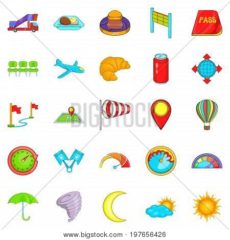 Airborne icons set. Cartoon set of 25 airborne vector icons for web isolated on white background