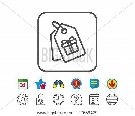 Coupons with Gifts line icon. Present box or Sale sign. Birthday Shopping symbol. Package in Gift Wrap. Calendar, Globe and Chat line signs. Binoculars, Award and Download icons. Editable stroke