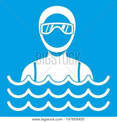 Scuba diver man in diving suit icon white isolated on blue background vector illustration