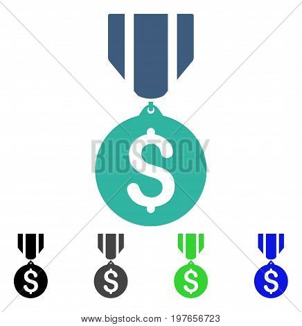 Dollar Medal flat vector pictogram. Colored dollar medal gray, black, blue, green icon variants. Flat icon style for graphic design.