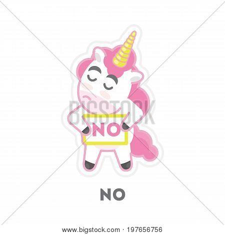 Isolated refusing unicorn on white background. Funny cartoon emoji.