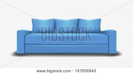 Blue sofa single object realistic design vector illustration