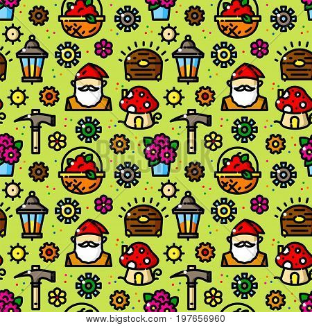 Fabulous gnomes seamless pattern with objects in line style, cartoon vector illustration