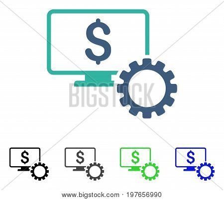 Financial Monitoring Options flat vector pictogram. Colored financial monitoring options gray, black, blue, green pictogram versions. Flat icon style for graphic design.