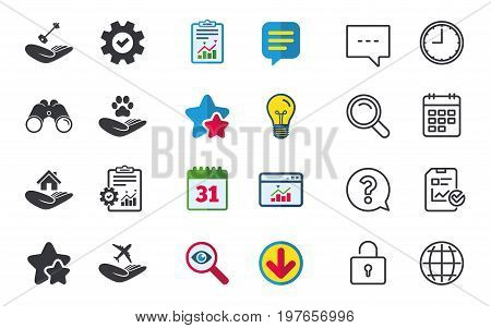Helping hands icons. Shelter for dogs symbol. Home house or real estate and key signs. Flight trip insurance. Chat, Report and Calendar signs. Stars, Statistics and Download icons. Vector
