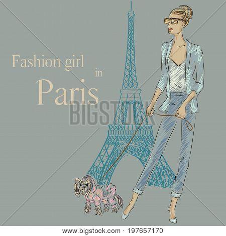 Fashion Girl With Little Dog Near Eiffel Tower