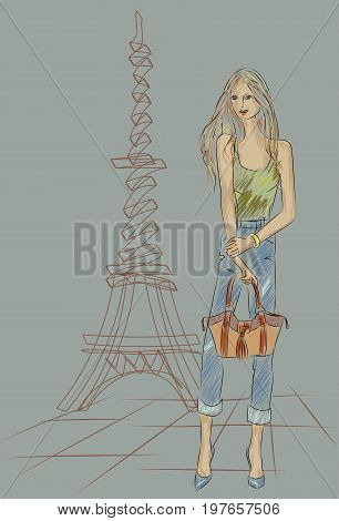 Fashion Girl In Paris Near Eiffel Tower