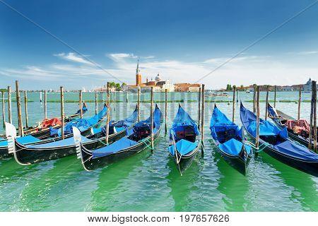 Scenic View Of Gondolas On The Venetian Lagoon, Venice, Italy