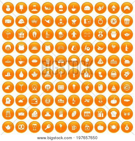 100 bounty icons set in orange circle isolated vector illustration