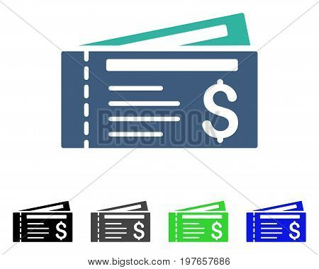 Tickets flat vector icon. Colored tickets gray, black, blue, green icon versions. Flat icon style for application design.
