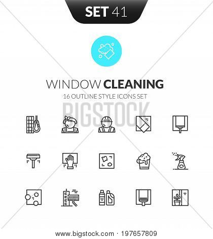 Outline black icons set in thin modern design style, flat line stroke vector symbols - window cleaning services collection